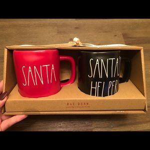 NWT Rae Dunn Black Santa's Helper Mug Set